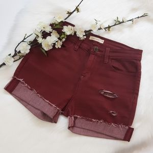 silence + noise Shorts - Silence+Noise High Waisted Distressed Jean Shorts